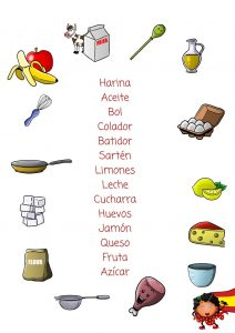 Cooking with languages printables english spanish