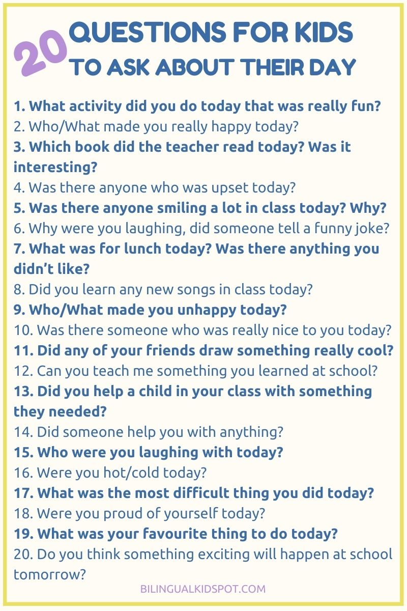 Fun Questions to ask kids about their day