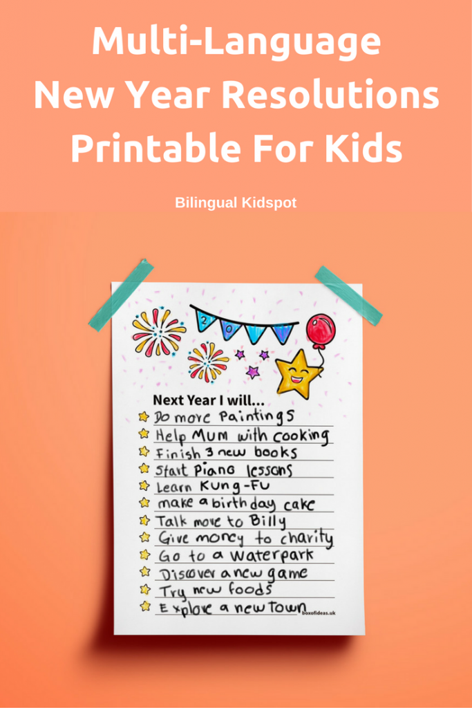 Multilingual New Years Resolutions for Kids