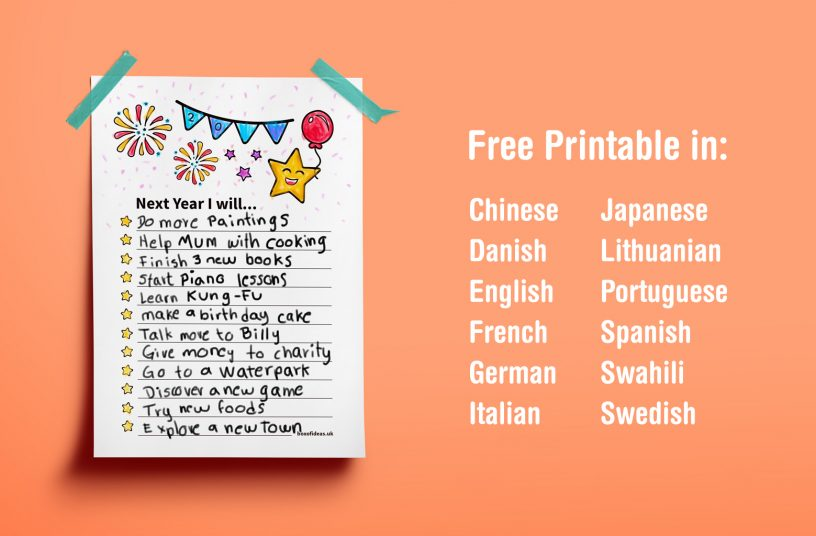 Multil-Language Printable: New Year Resolutions For Kids