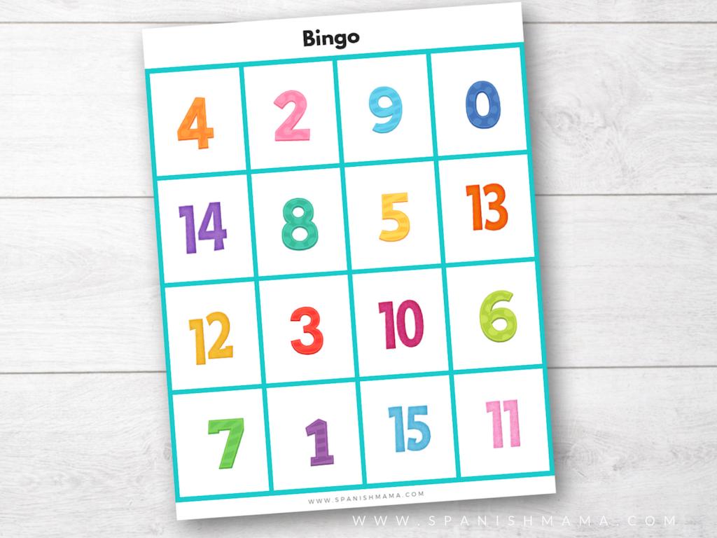 Spanish Numbers Game for Kids - Bingo