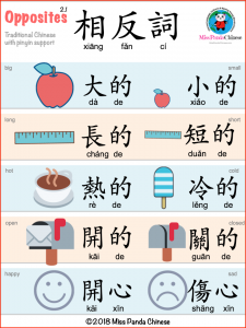 Opposites in Chinese - Lessons for Kids