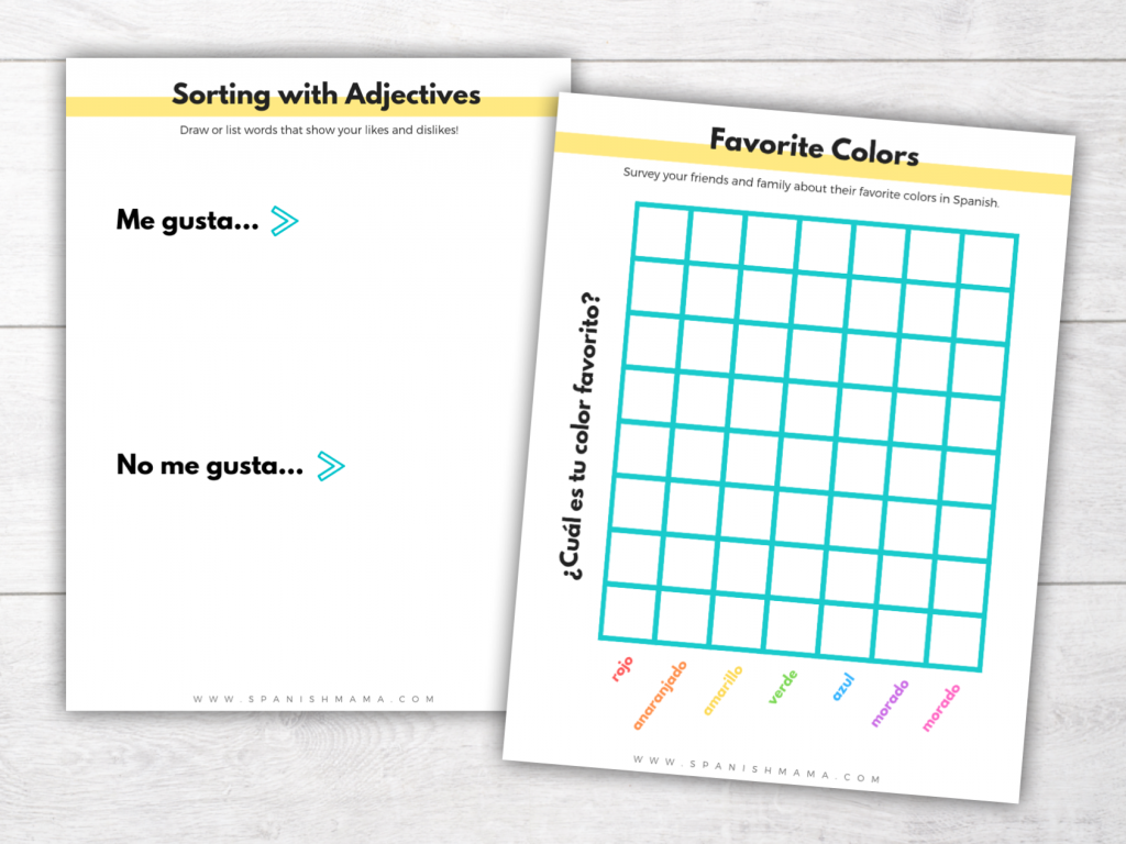 Spanish For Kids: Lesson 5 Colors and Adjectives Printable