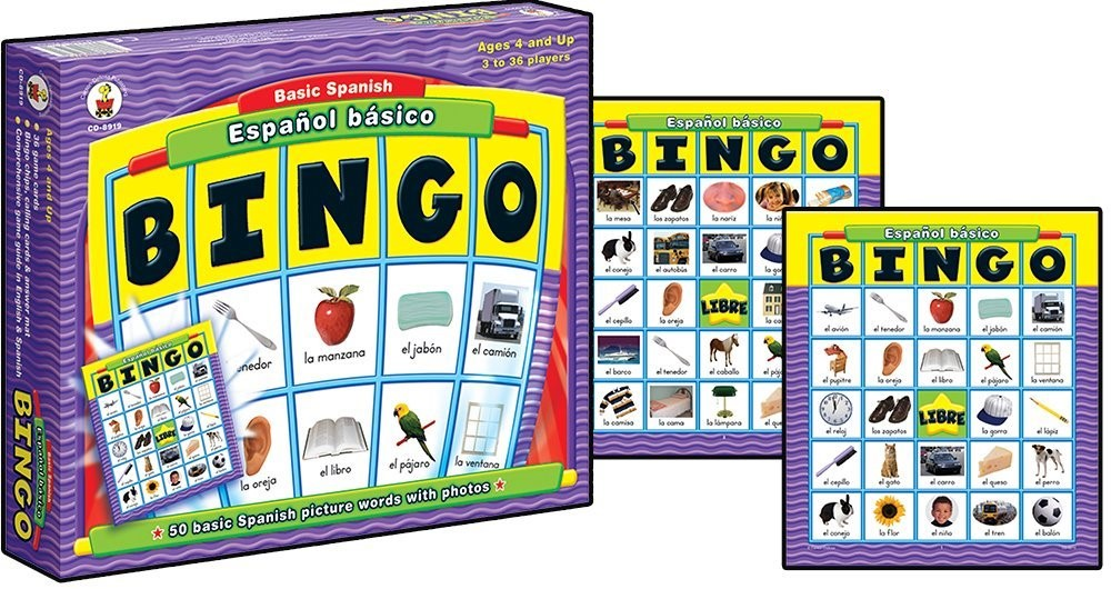 Bingo fun spanish game for kids