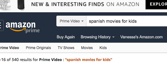 Amazon Prime Video Kids Movies in Spanish