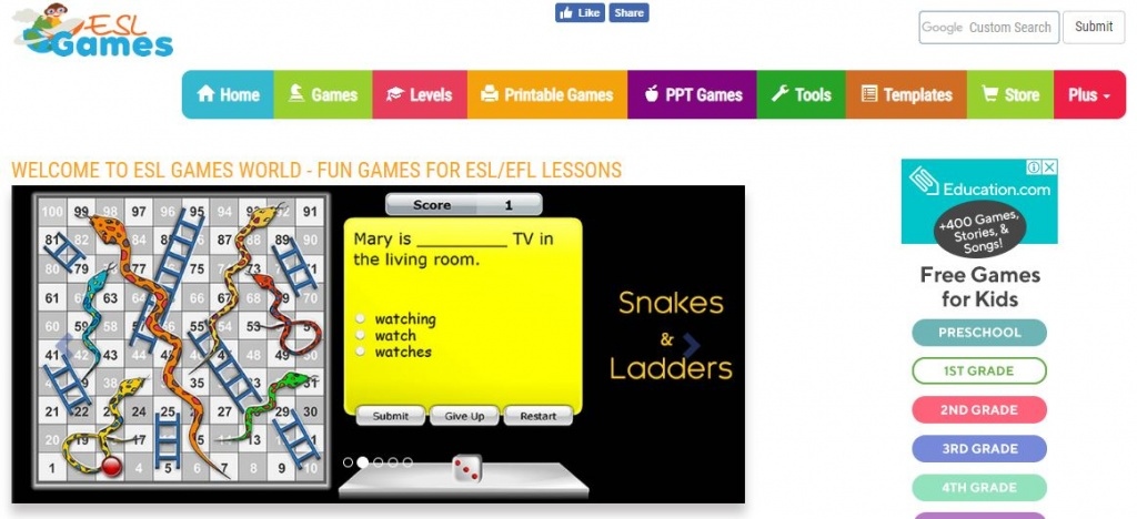 ESL Games - Free English website for kids