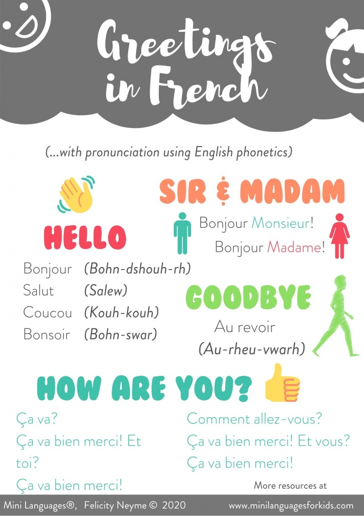 Greetings in French Printable