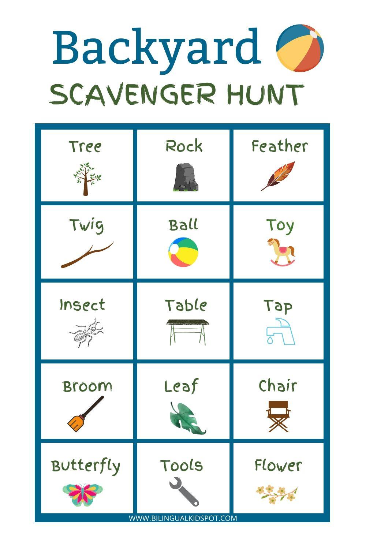 Backyard Scavenger Hunt in English - Bilingual Kidspot