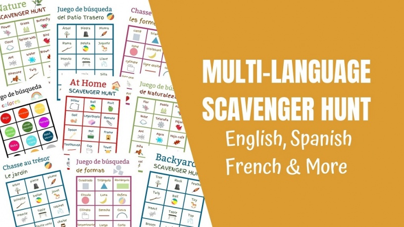 Multi Language Scavenger Hunt Spanish, French, English