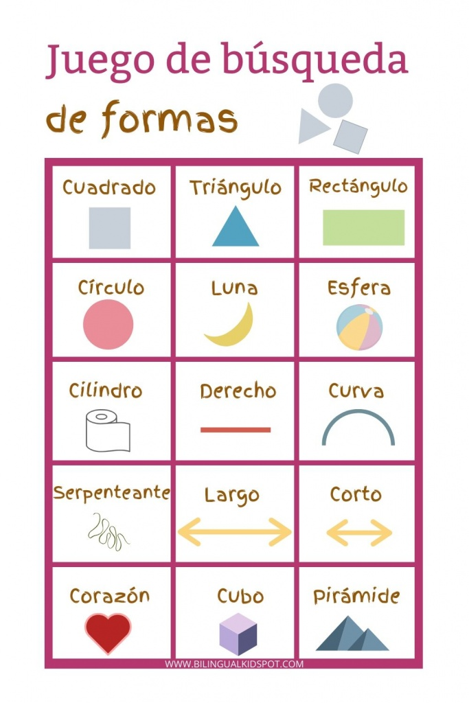 Spanish Scavenger Hunt List - Shapes