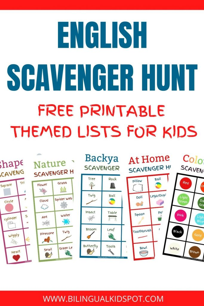 English Scavenger Hunt Lists Free Printables