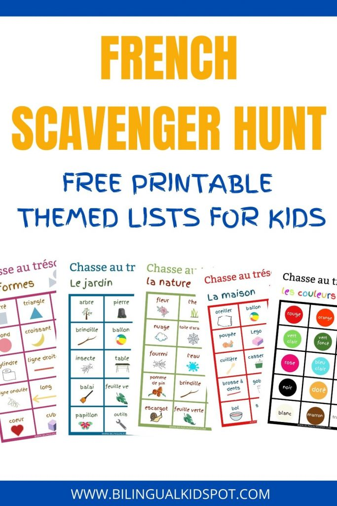 French Scavenger Hunt FREE Printable Lists