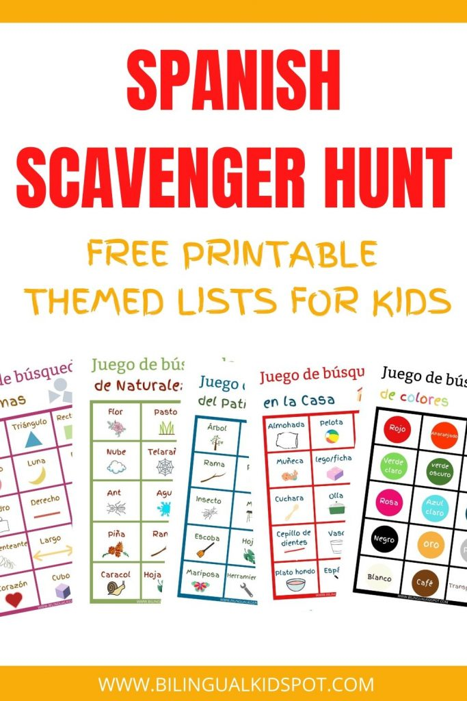 Spanish Scavenger Hunt Free Printables