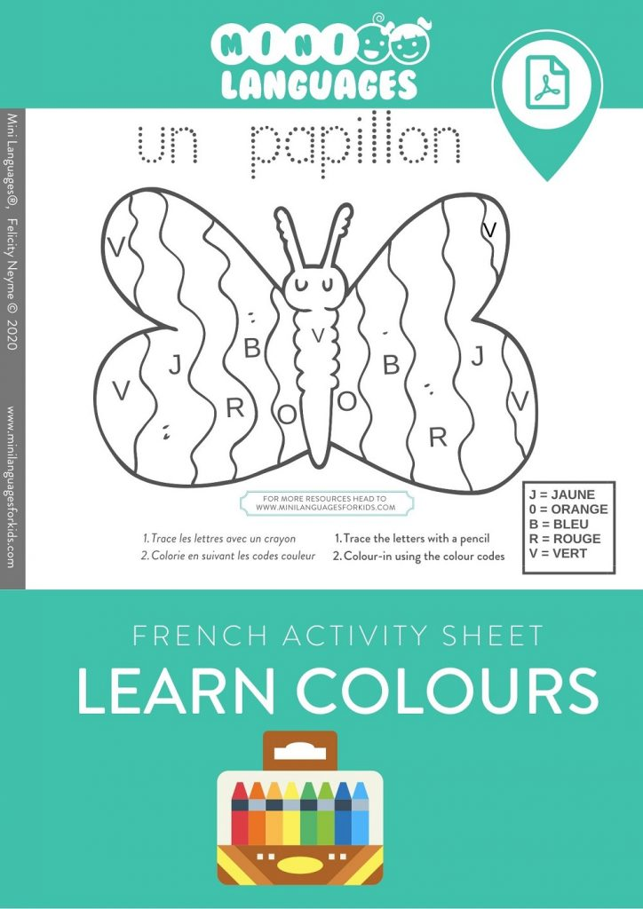 Colours in French Activity for Kids