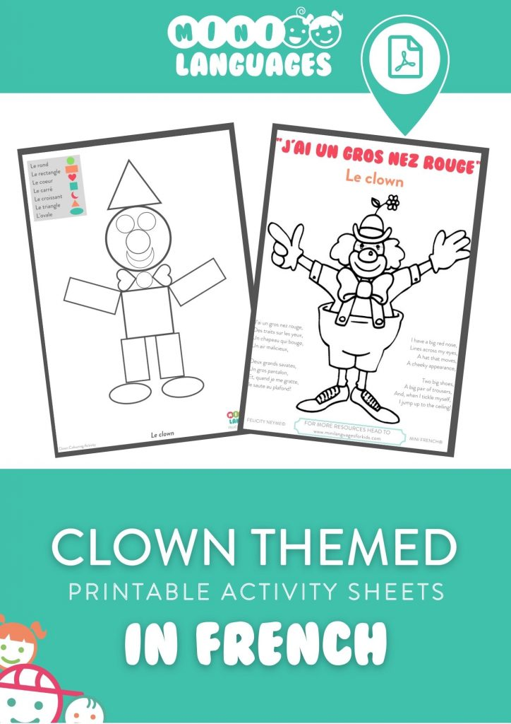French for Kids - clown activity sheets